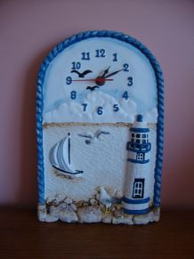 Horloge murale  vintage déco bord de mer en relief