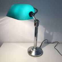 Lampe opaline céladon style Pirouett vintage 1930 - 40 cm