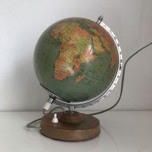 Globe terrestre de Räth verre vintage 1977 - 30 cm