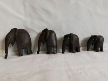 Suite 4 éléphants bois déco années 70