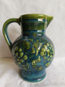 Pichet à vin en céramique bleu vert vintage