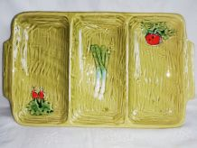 Grand plat ravier en céramique barbotine pour crudités