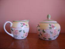 Sucrier et pot à lait vintage en céramique