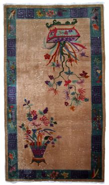 Tapis ancien Chinois Art Deco fait main, 1B639