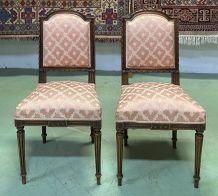 Paire de chaises Louis XVI du début XXème en hêtre mouluré