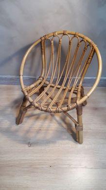 fauteuil osier 1960 a70s belle etat 44x54cm  pour enfant ou
