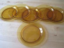 6 assiettes plate   en verre Verico France vintage 1970