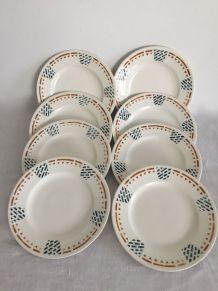 8 assiettes plates Terre de fer, Salins - Modèle Perrache