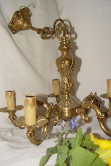 """Lustre Rococo  bronze à 5 branches """"bougies"""""""