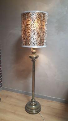 lampadaire laiton tourner cuivré abat jour 41x50cm hauteur