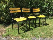 3 chaises métal bistrot