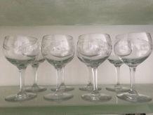 8 verres ballon gravés
