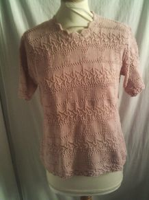 Tee shirt manche courte rose matière laine femme taille 42