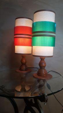 duo de lampes scandinave en bois tournè  , 1955 a70s  etat r