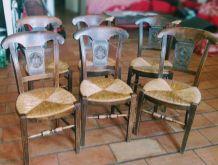 Chaises anciennes chêne et paille