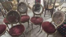 Chaises médaillon (lot de 6) à restaurer