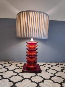 lampe à poser vintage pied galets en verre orange et rouge