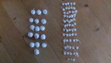 Perles/ponpons anciens  coton 58 petit modèle/16 grd modèle)