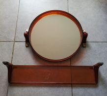 Miroir rond et étagère  vintage années 70