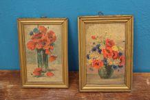 lot petit tableau en bois  bouquet de fleur