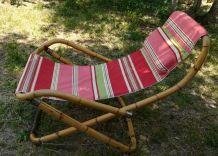 Transat vintage en bambou et toile