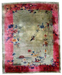 Tapis ancien Chinois Art Deco fait main, 1E07
