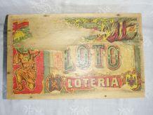 Ancienne boite en bois de jeu LOTO Loteria (vide)