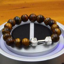 bracelet pierre oeil de tigre / haltère