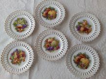 6 assiettes à dessert Porcelaine ajourées