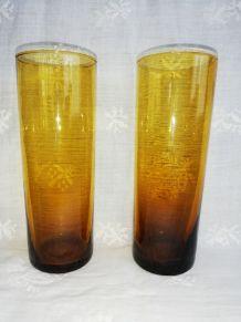 Paire de verres, vases, photophores ambrés vintage