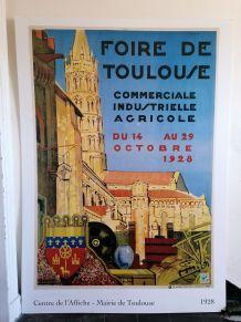 Grande affiche ancienne Foire de Toulouse 1928