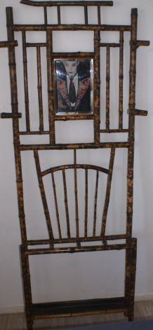 Porte-manteau bambou tigré 1900-1930