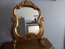 Miroir psyché en bois doré