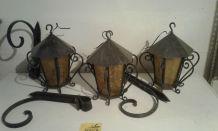 Lanterne extérieur x3 avec support fer forgé