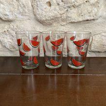 Verres motif pastèque vintage