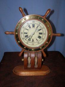 Ancienne pendule Marine en bois, mécanisme à quartz