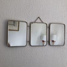 Miroir triptyque barbier pied de poule vintage 1960 - 20 x 5