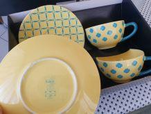 tasses de thé + soucoupes - Gien modèle Camargue
