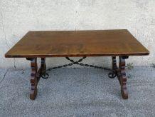 Table basse rustique orme & fer forgé fin 18 ème