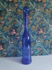 Carafe bouteille géante Biot en verre bleu de Perse
