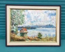 Tableau Peinture / Maison sur le lac