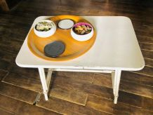 table basse rotin  blanc vintage années 50