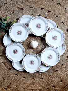 Lot 12 assiettes desserts porcelaine