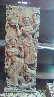 tableau sculpture en teck danseuses thai