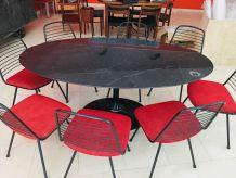 Table marbre noire salle à manger