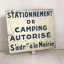 """Plaque en Tôle """"camping autorisé"""" 60's"""