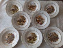 8 assiettes creuses Faïence décor chasse