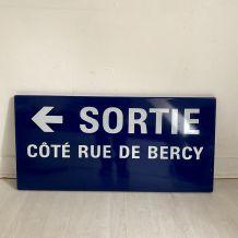 """Plaque de métro parisien """"Sortie Rue de Bercy"""""""