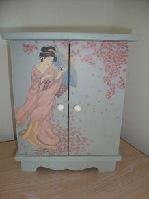 Boite de rangement ornée d'une geisha
