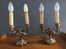 Paire de candélabres en bronze, électrifiés